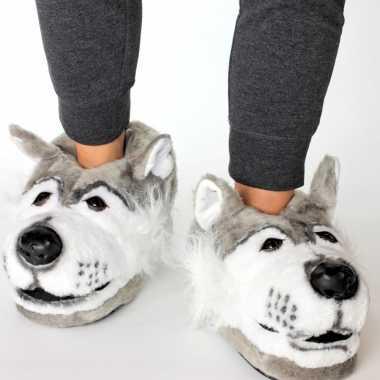 Dieren pantoffels/sloffen grijze wolf voor kinderen maat 34 36