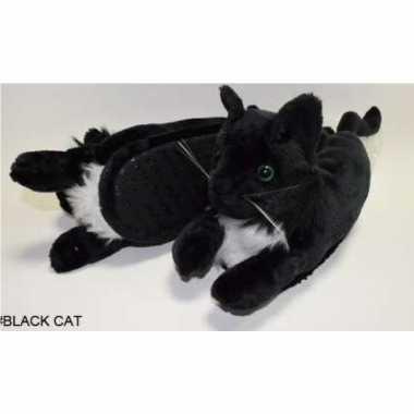 Dieren pantoffels/sloffen zwarte kat/poes voor kinderen maat 34 36