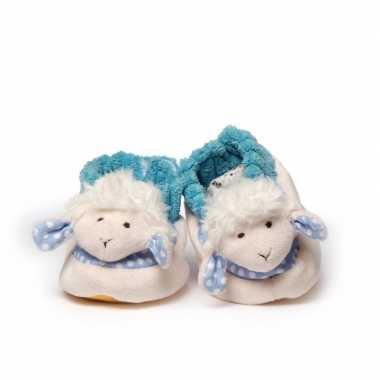 Pantoffels babyslofjes wit/blauw schaap/lammetje kind