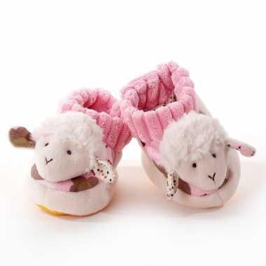 Pantoffels babyslofjes wit/roze schaap/lammetje kind