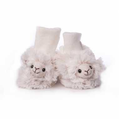 Pantoffels babyslofjes wit schaap lammetje kind