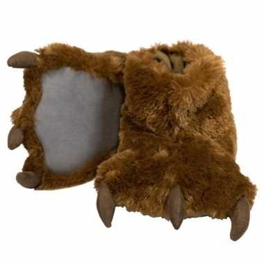 Pantoffels grote pluche bruine dierenpoot sloffen kinderen