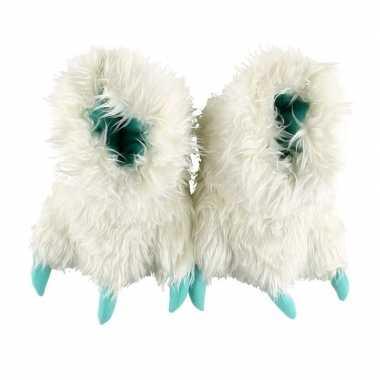 Pantoffels grote pluche witte dierenpoot sloffen kinderen
