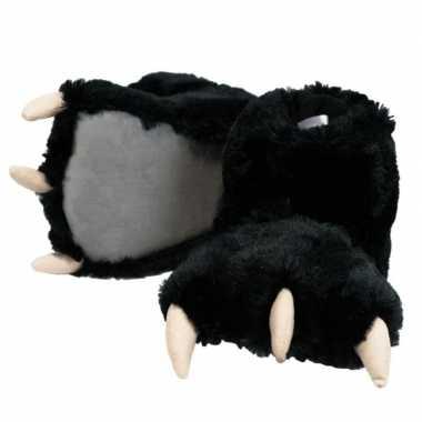 Pantoffels grote pluche zwarte dierenpoot sloffen kinderen