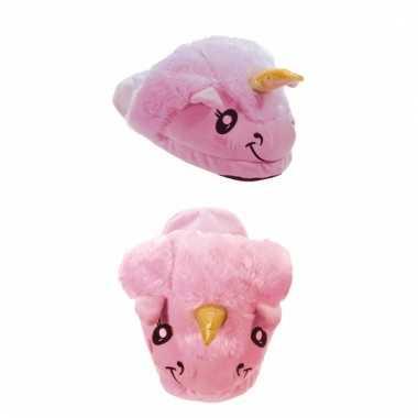Pantoffels kinder slof eenhoorn roze
