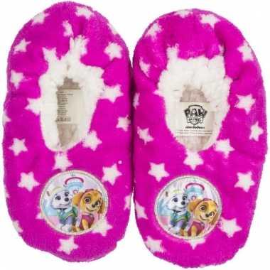 Pantoffels kinderslof paw patrol fuchsia roze voor meisjes