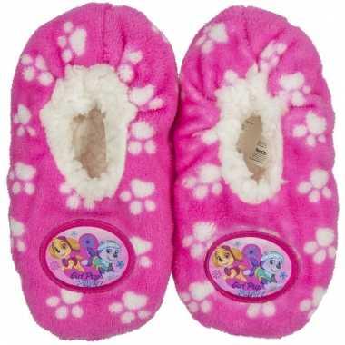 Pantoffels kinderslof paw patrol roze voor meisjes