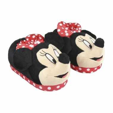 Rode disney minnie mouse 3d sloffen/pantoffels voor meisjes kind