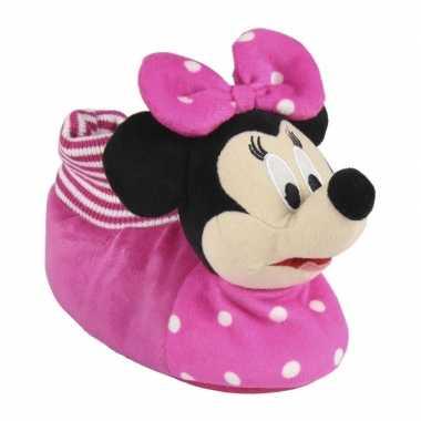Roze disney minnie mouse 3d sloffen/pantoffels voor meisjes kind