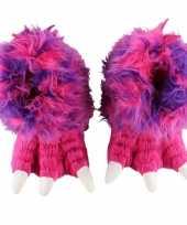 Pantoffels grote pluche roze dierenpoot sloffen meisjes kind